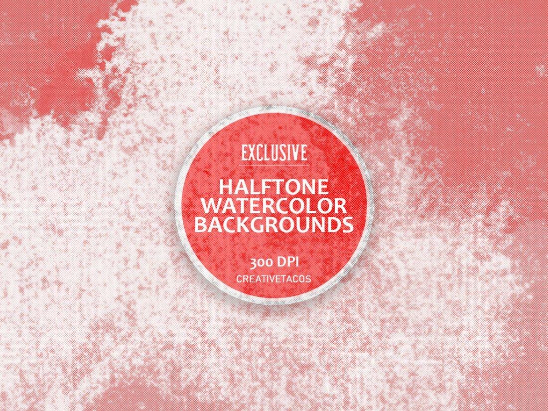 4 Free Halftone Watercolor Textures