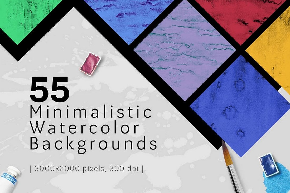 55 Minimalistic Watercolor Backgrounds