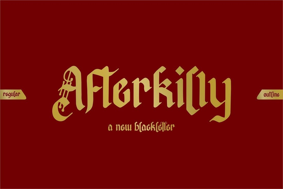Afterkilly - Free Blackletter Tattoo Font