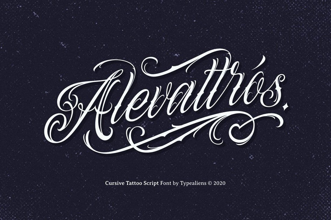 Alevattros - Cursive Tattoo Font