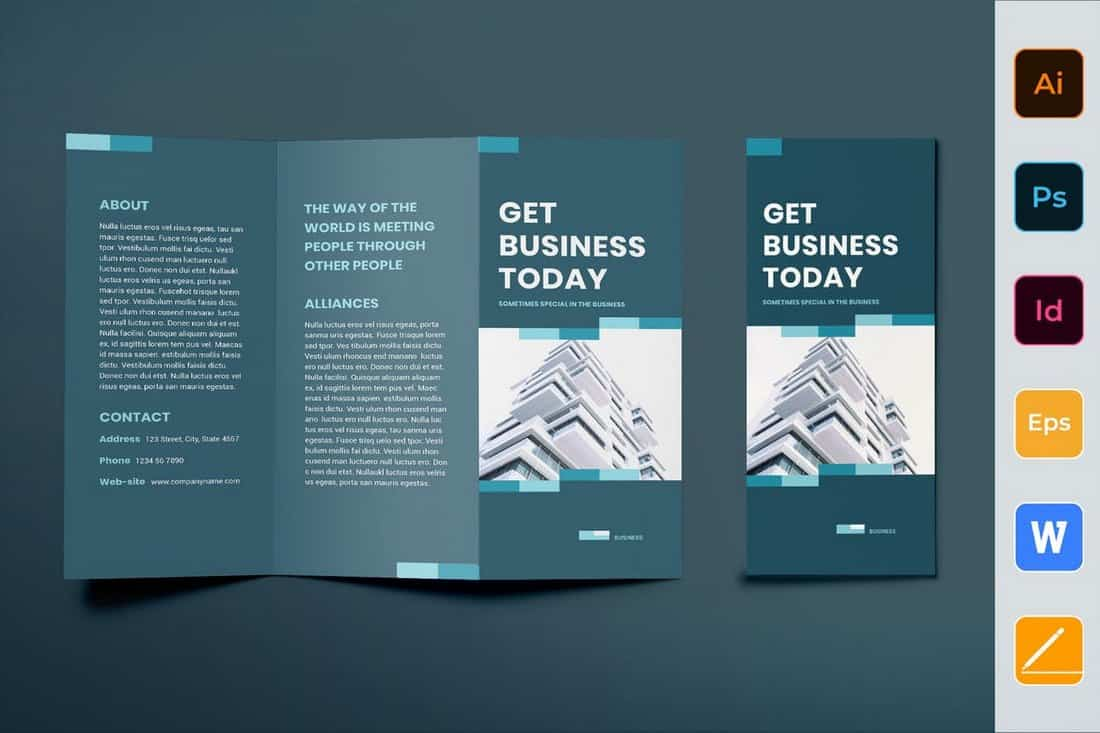 Business Networking Trifold Brochure Template