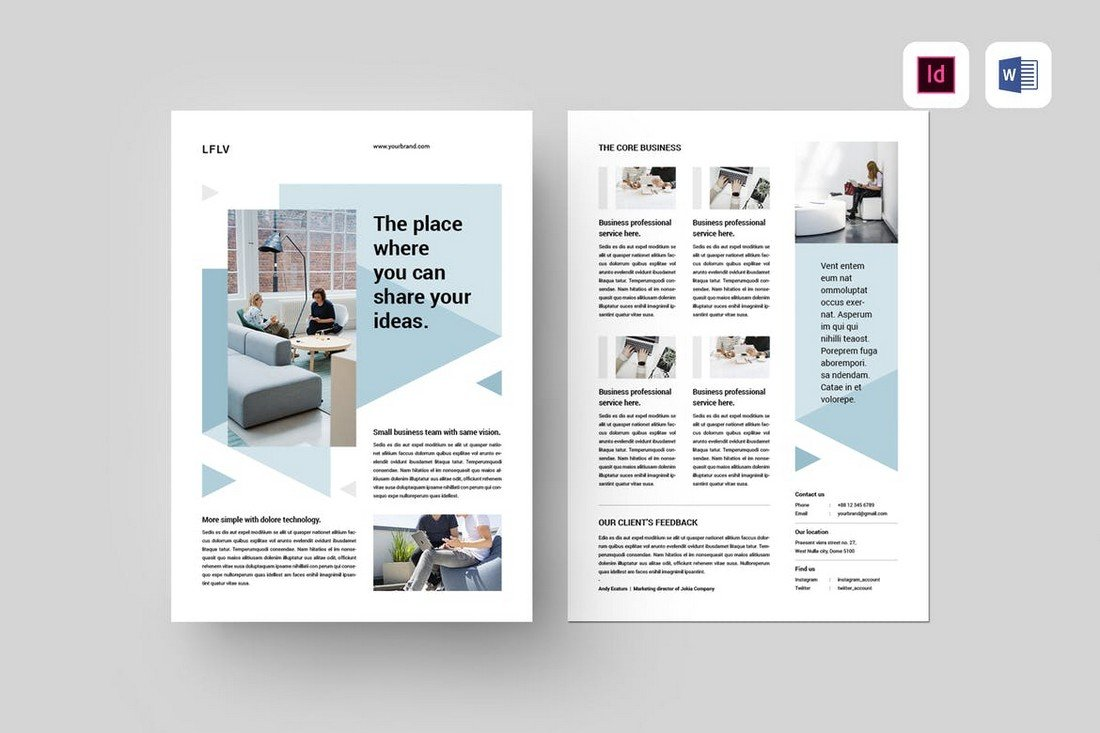 Clean Business Flyer Template for Word