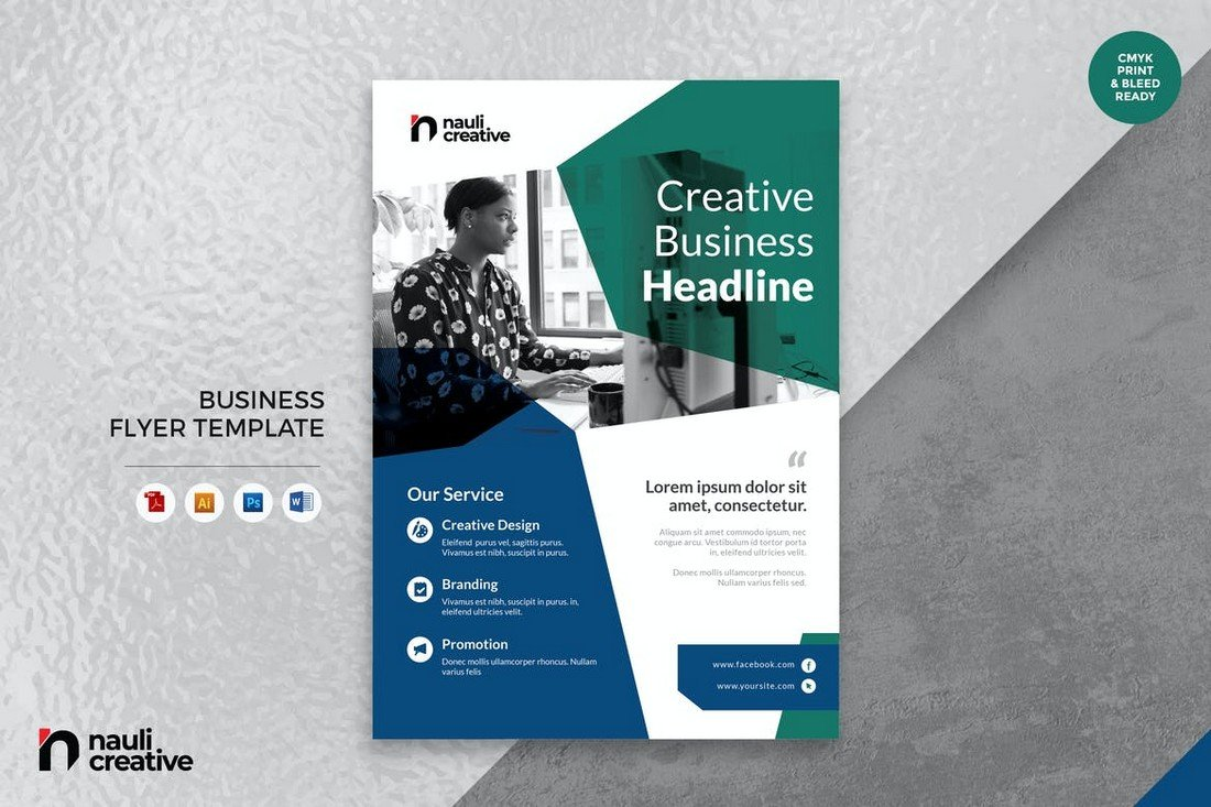 Corporate Business Flyer Word & PSD