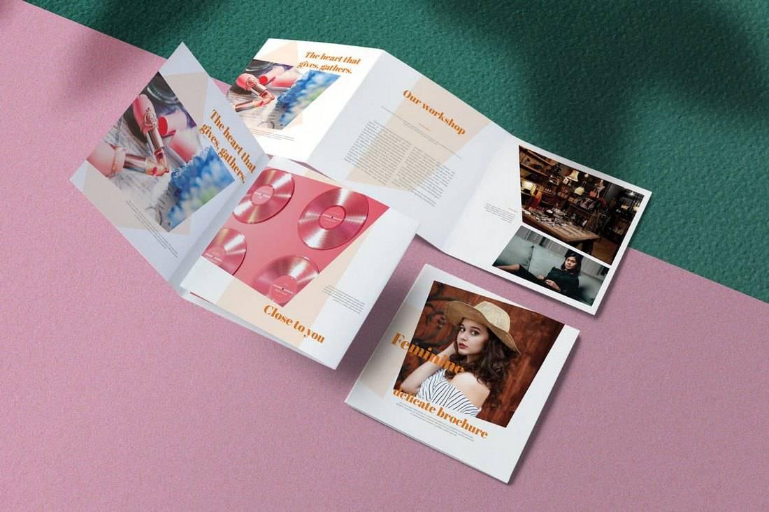 Feminine Square Brochure Template