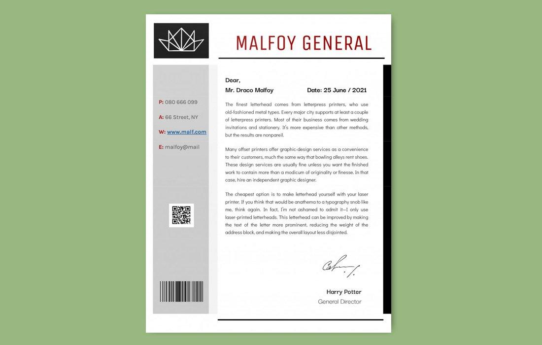 Free Modern Google Docs Letterhead Template