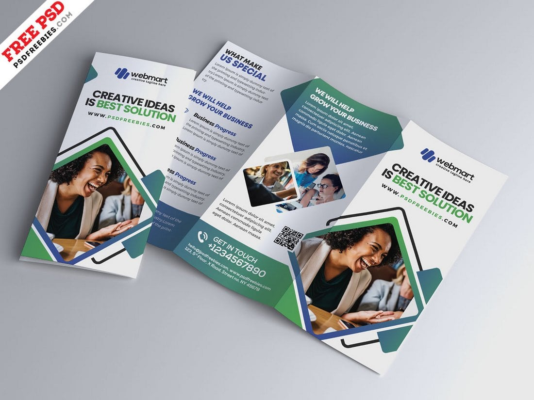 Free Modern Tri-Fold Brochure Design PSD