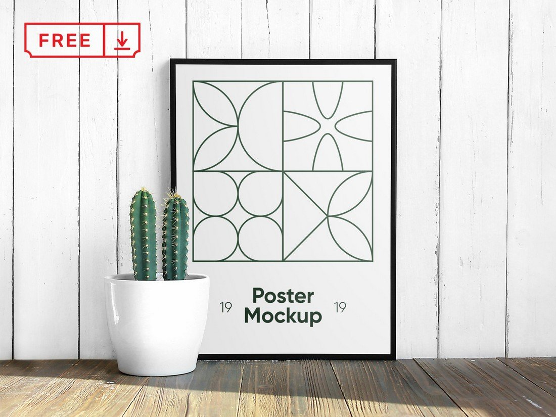 Free Poster with Cactus Mockup