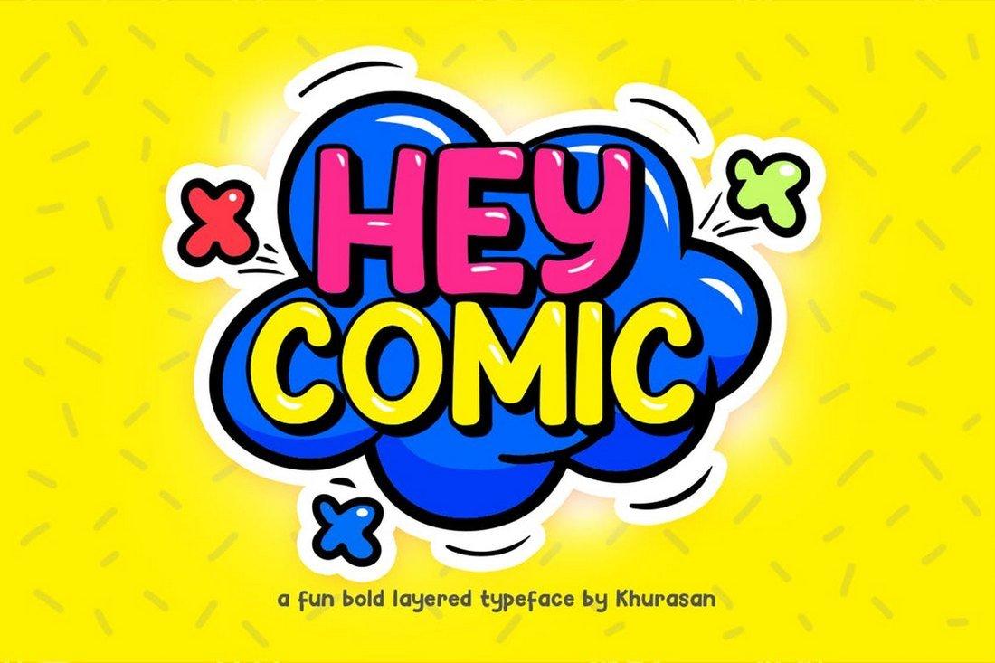 Hey Comic - Fun Bold Layered Font