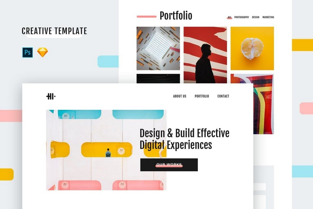 Hi - Creative Website Template (PSD + Sketch)