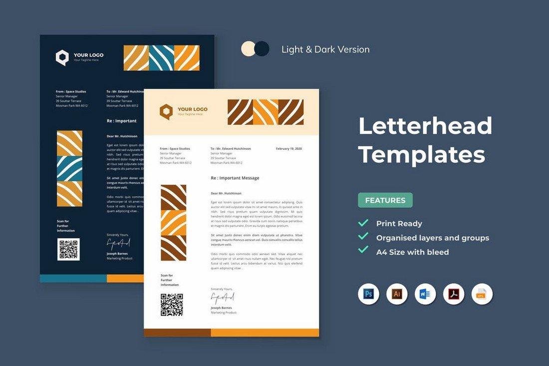 Modern A4 Letterhead Template for Word