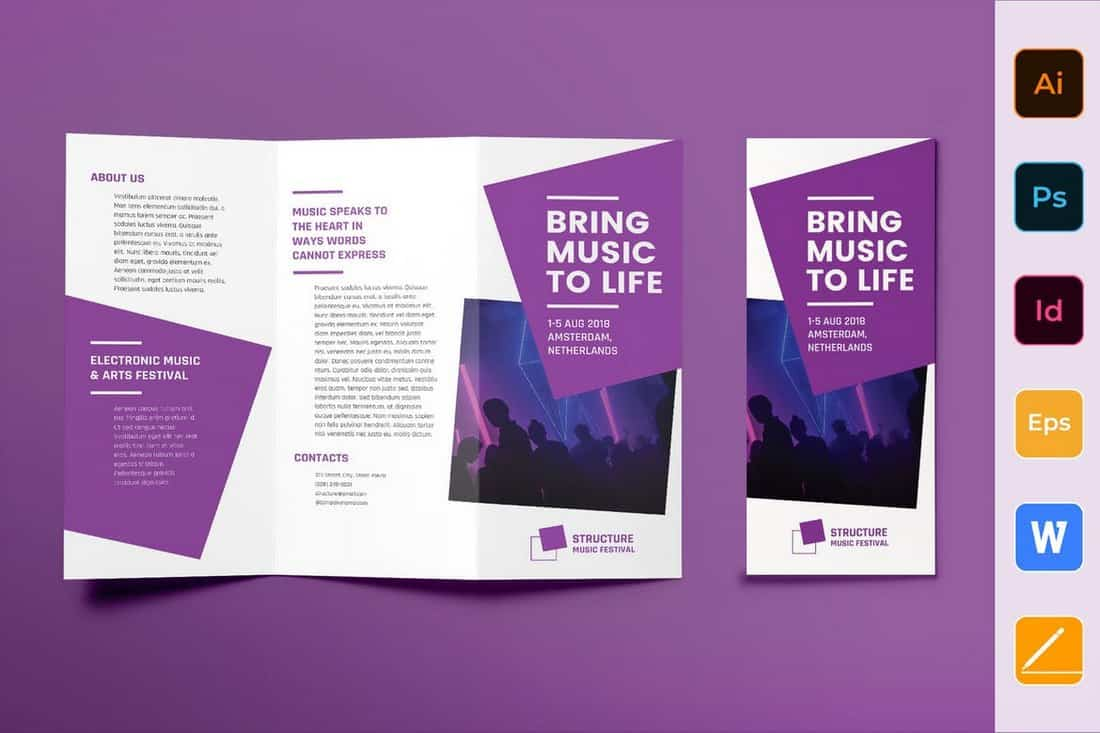 Music Festival Trifold Brochure Template