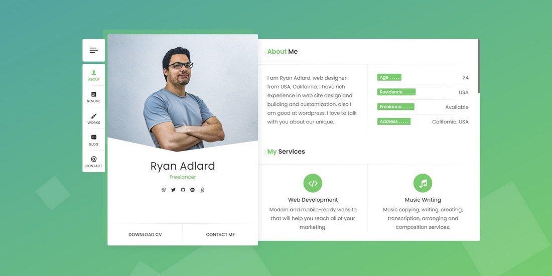 RyanCV - Resume & vCard HTML Template