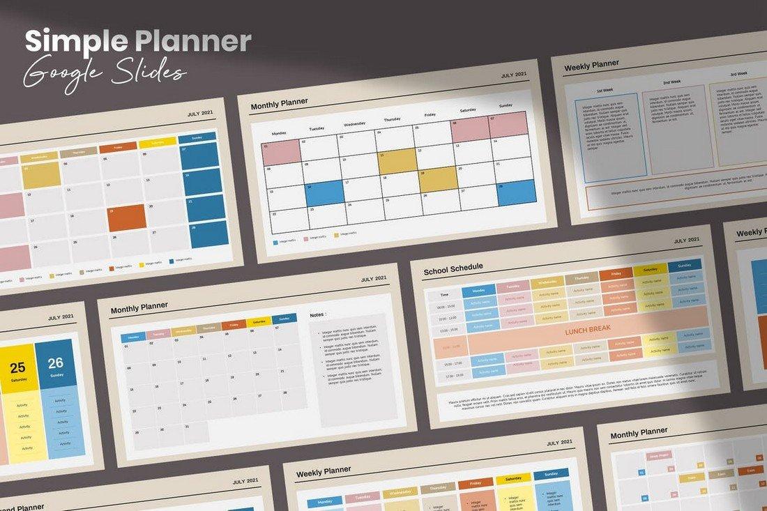 Simple Planner - Google Slides Template