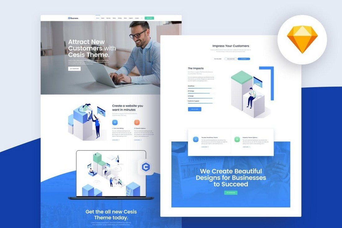 Yosemite - Business Website Template for Sketch