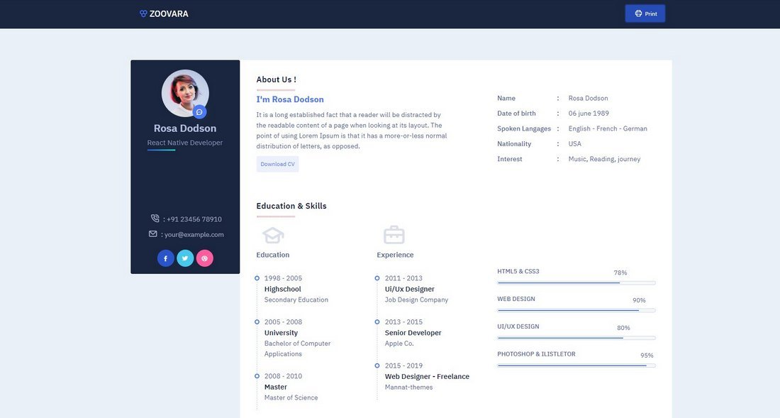 Zoovara - Personal Resume CV HTML Template