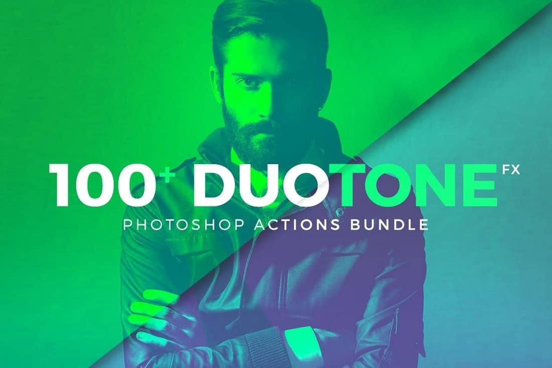 100+ Duotone Photoshop Action Bundle
