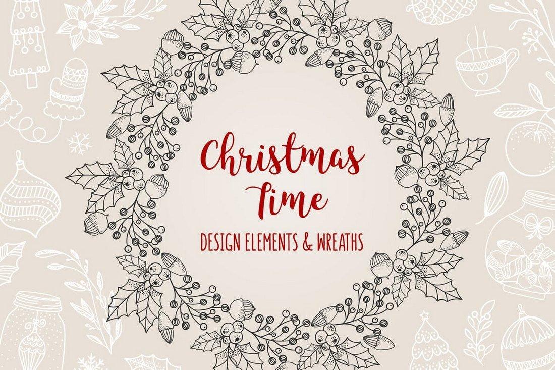 85 Hand-Dawn Christmas Elements & Wreaths