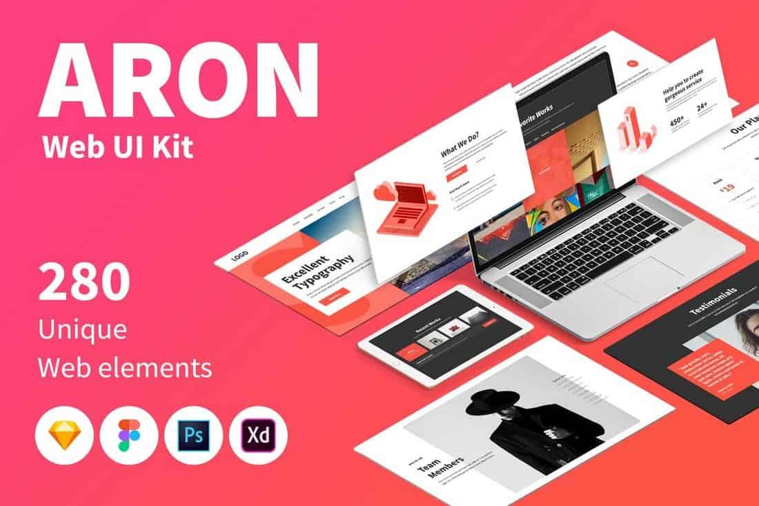 ARON Web UI Kit Sketch Templates