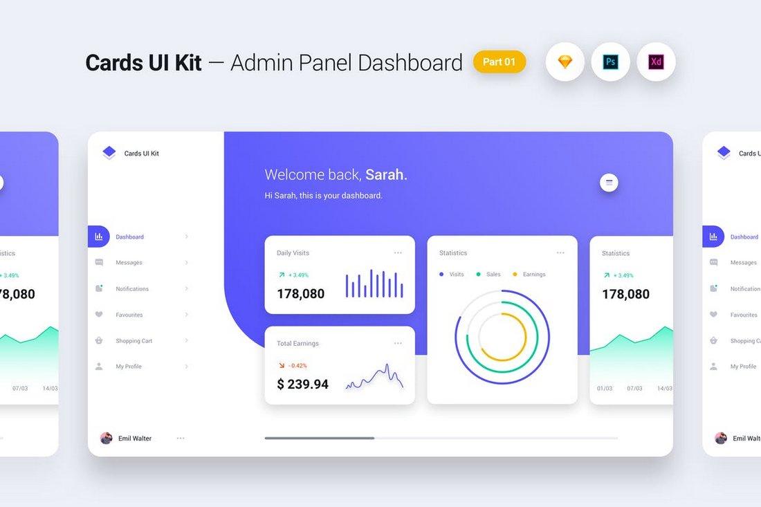 Cards UI Kit - Admin Panel Dashboard Concept