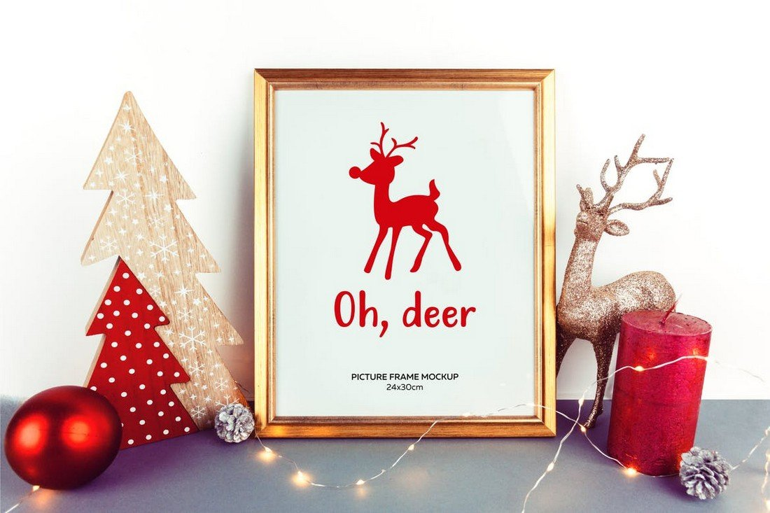 Christmas Gold Picture Frame Mockup