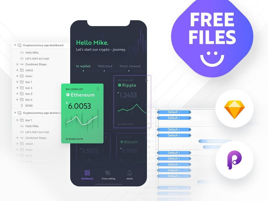 Cryptocurrency App Dashboard Sketch Template