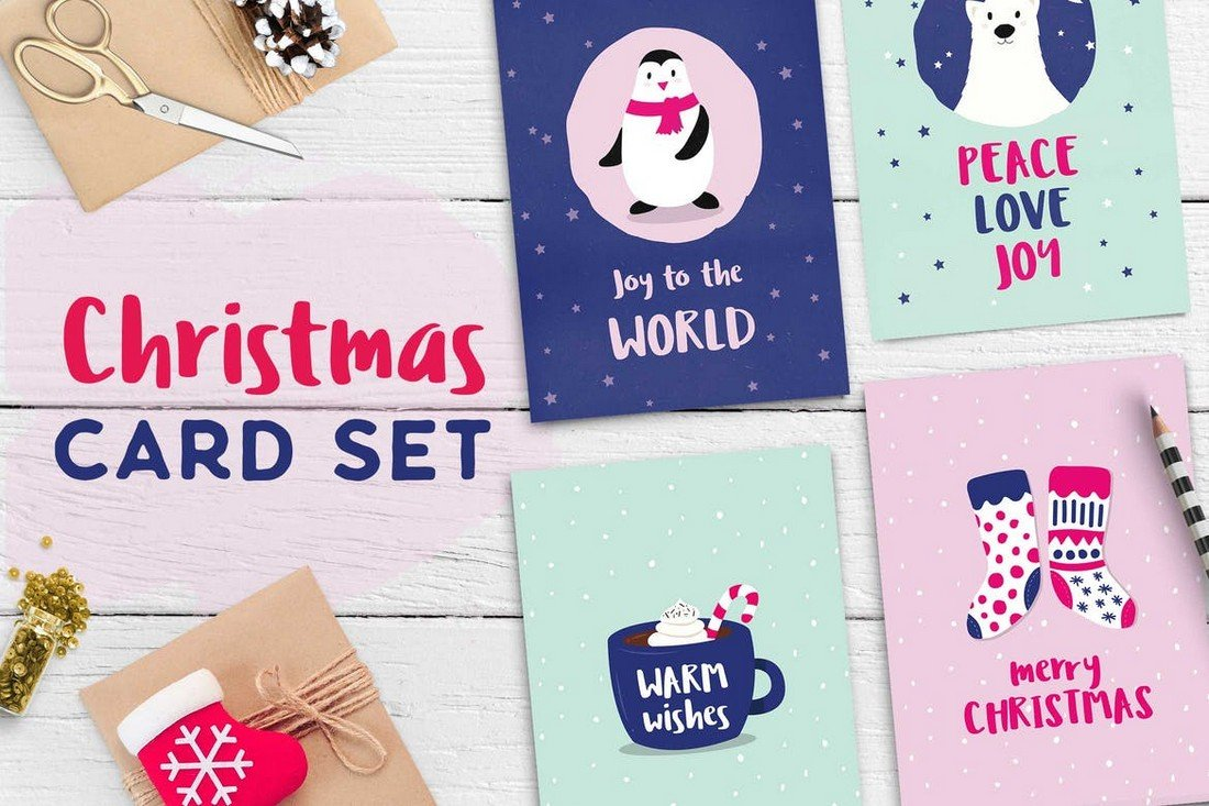 Cute Minimal Christmas Card Set