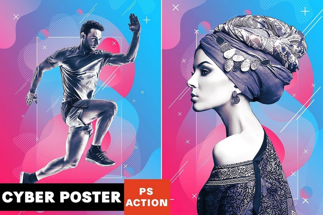 Cyber Poster Photoshop Action