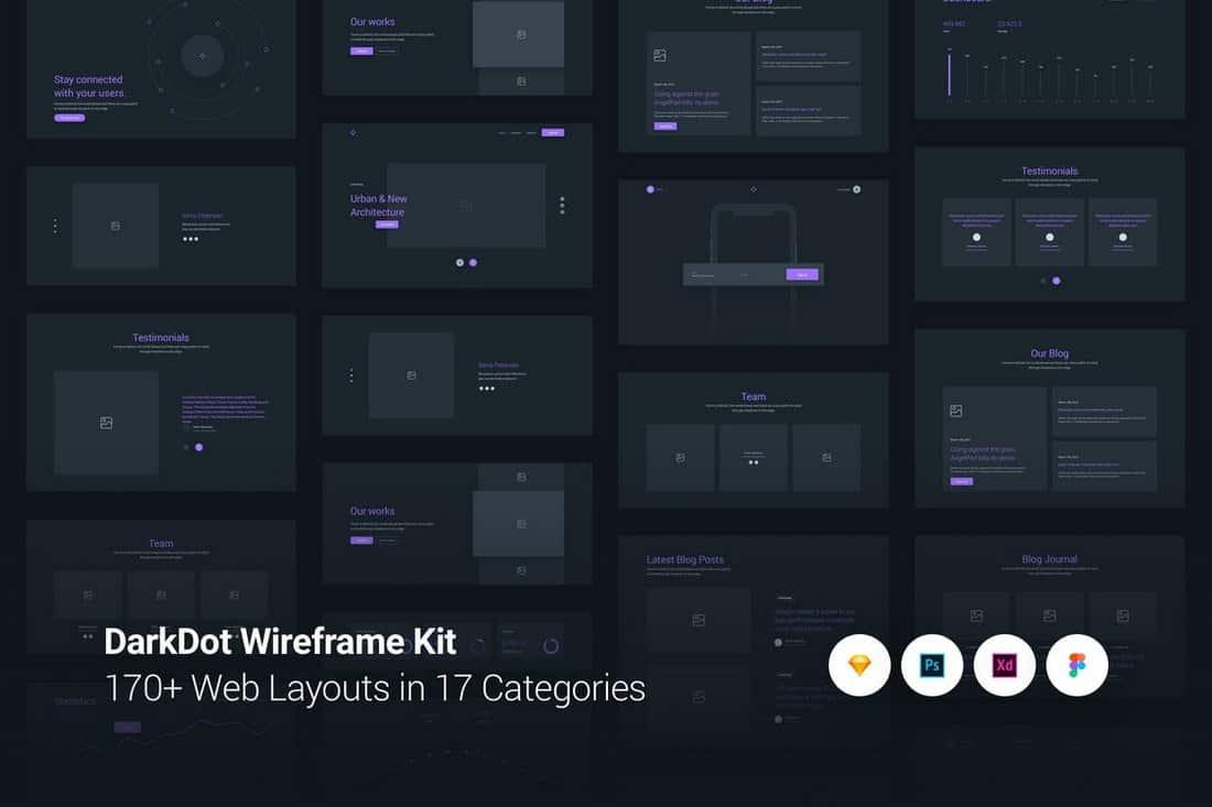 DarkDot - Wireframe UI Kit Sketch Template