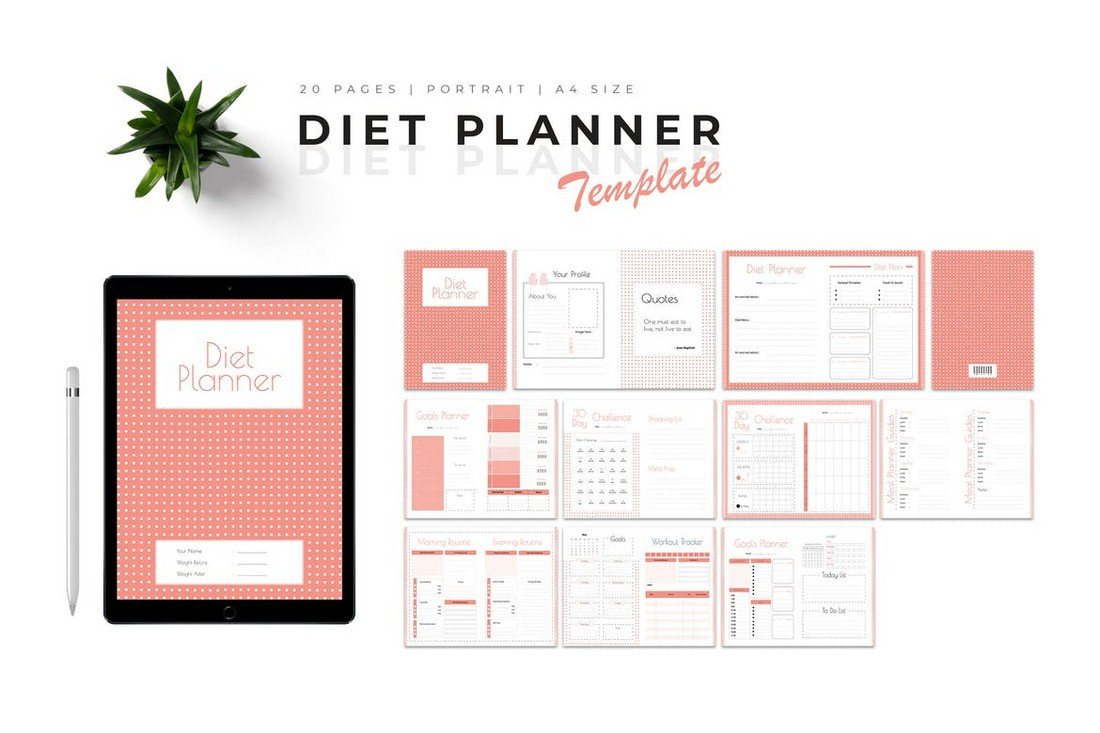 Diet Planner Template for Word & InDesign