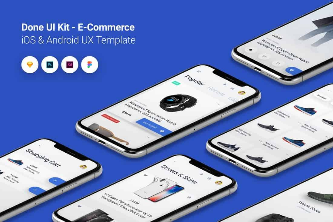 E-Commerce - Done UI Kit iOS & Android UX Template