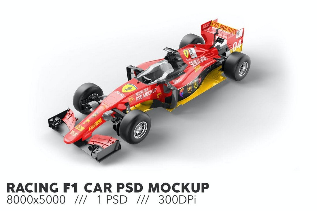 F1 Racing Car Livery Mockup