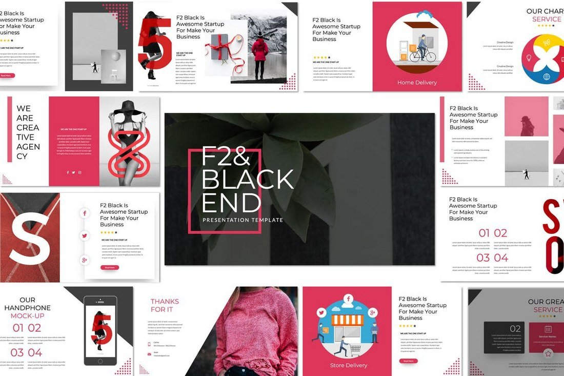 F2 & Black End - Cool Powerpoint Template