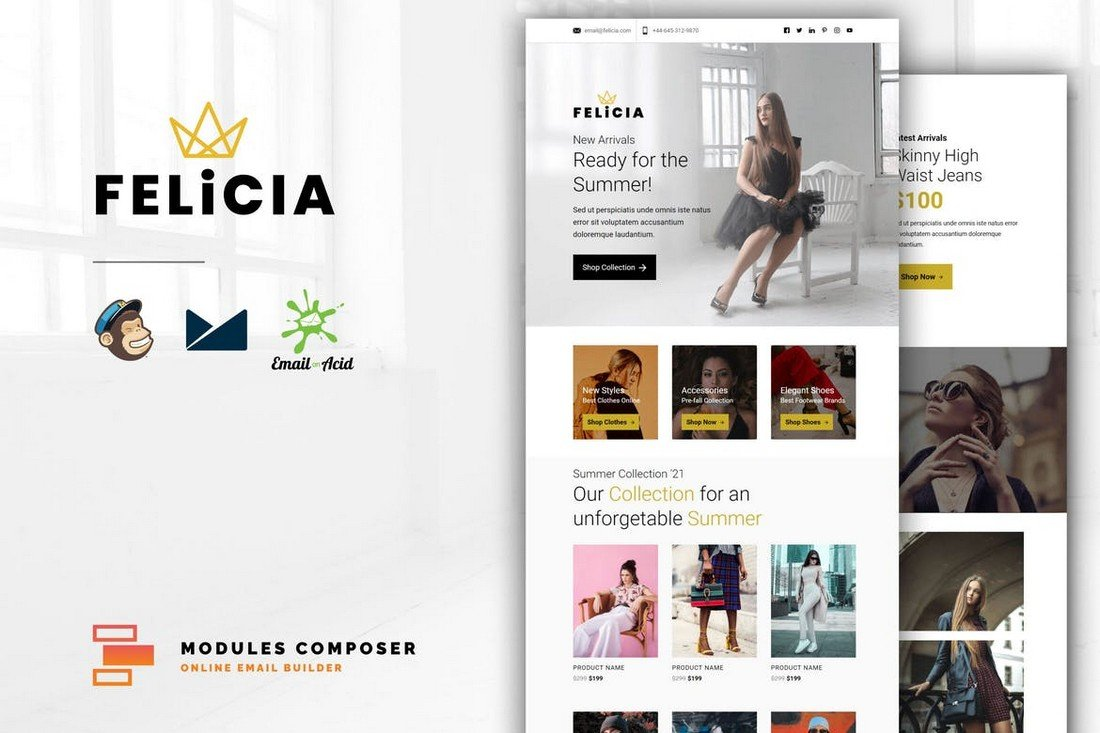 Felicia - MailChimp Email Template for Online Stores