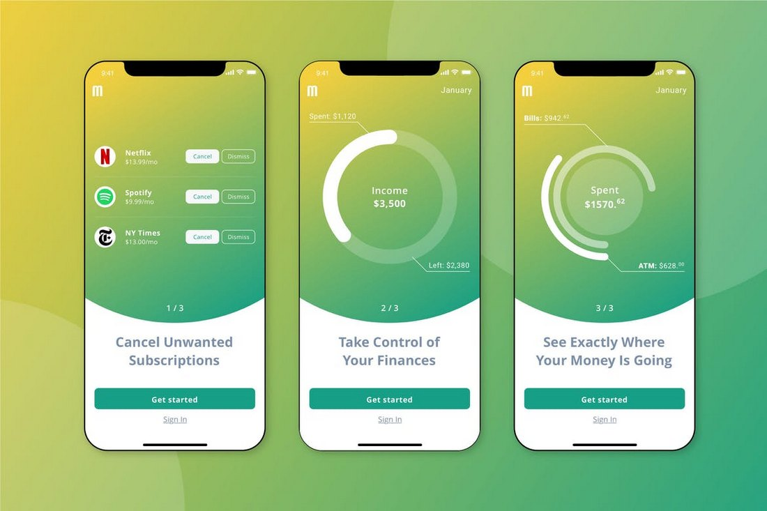Finance Walkthrough Mobile UI Sketch Template