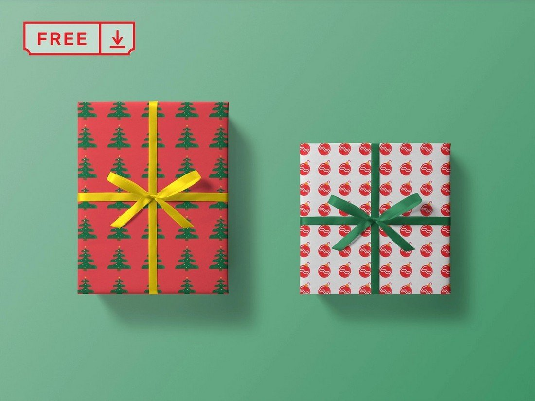 Free Christmas Box Mockup