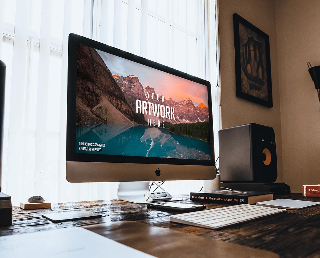 Free Mac Desktop Mockup PSD