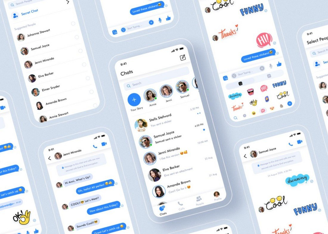 Free Messaging App UI Sketch Template