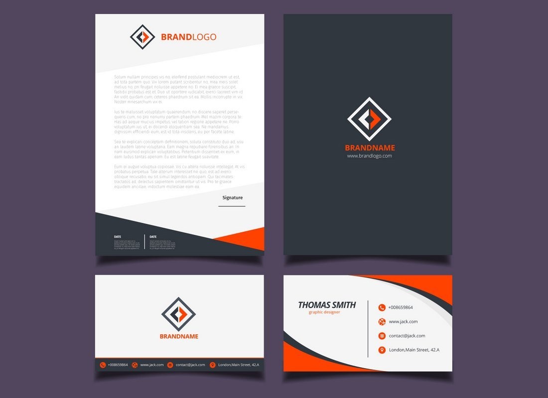 Free Orange & Black Corporate Stationery Templates