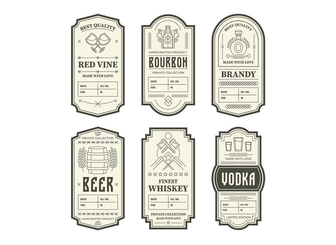 Free Vintage Beer & Vine Bottle Label Templates