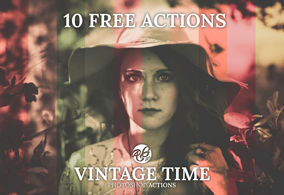Free Vintage Time Photoshop Actions