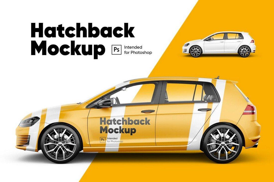 Hatchback Car Wrap Mockup