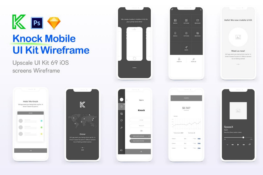 Knock - Mobile UI Wireframe Kit for Sketch