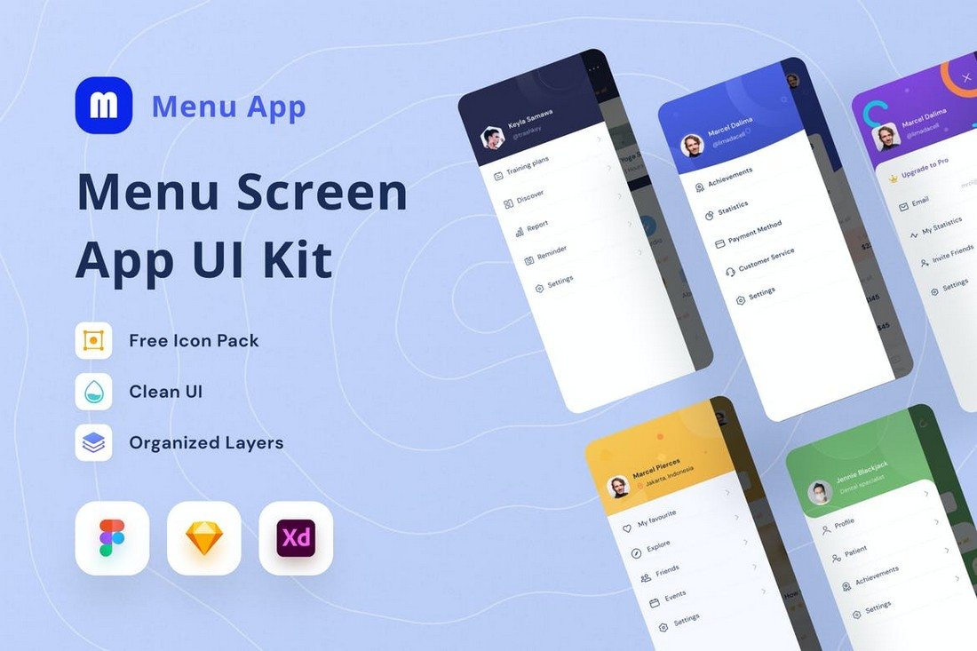 Menu Screen UI Kit for Sketch & Figma