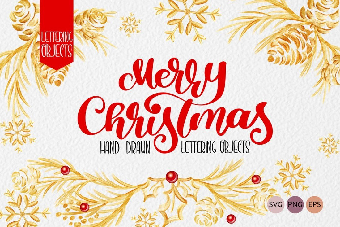 Merry Christmas - Handdrawn Lettering Objects