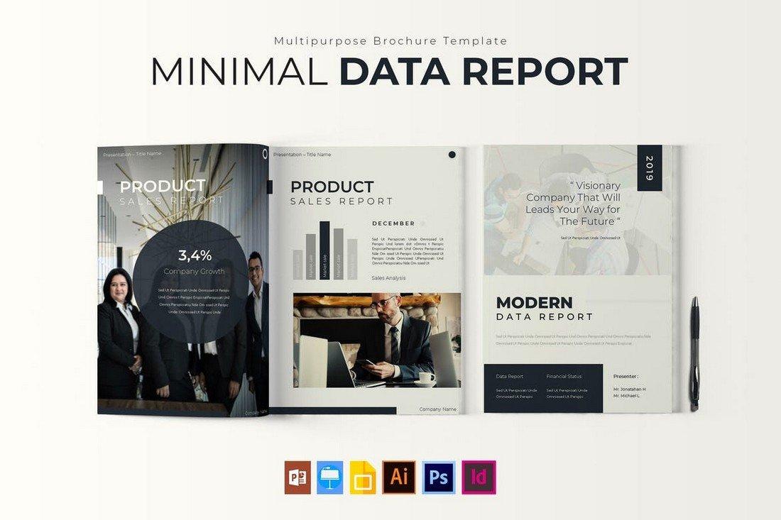 Minimal Data - Modern Report Brochure Template