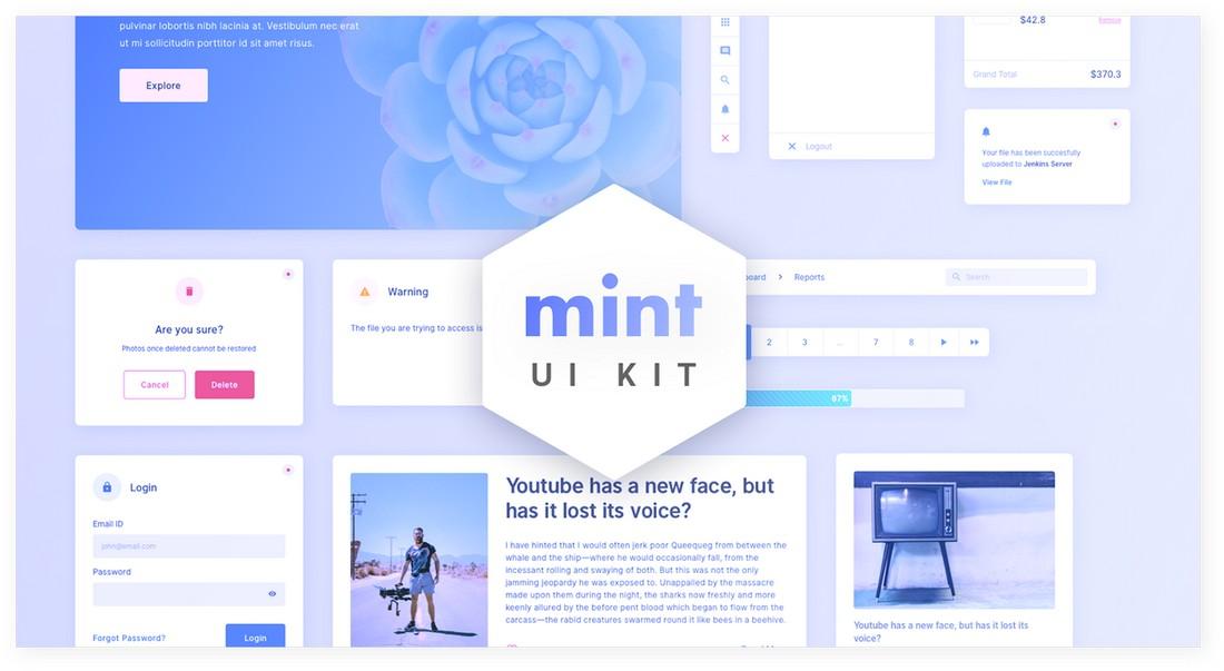 Mint - Free Sketch UI Kit