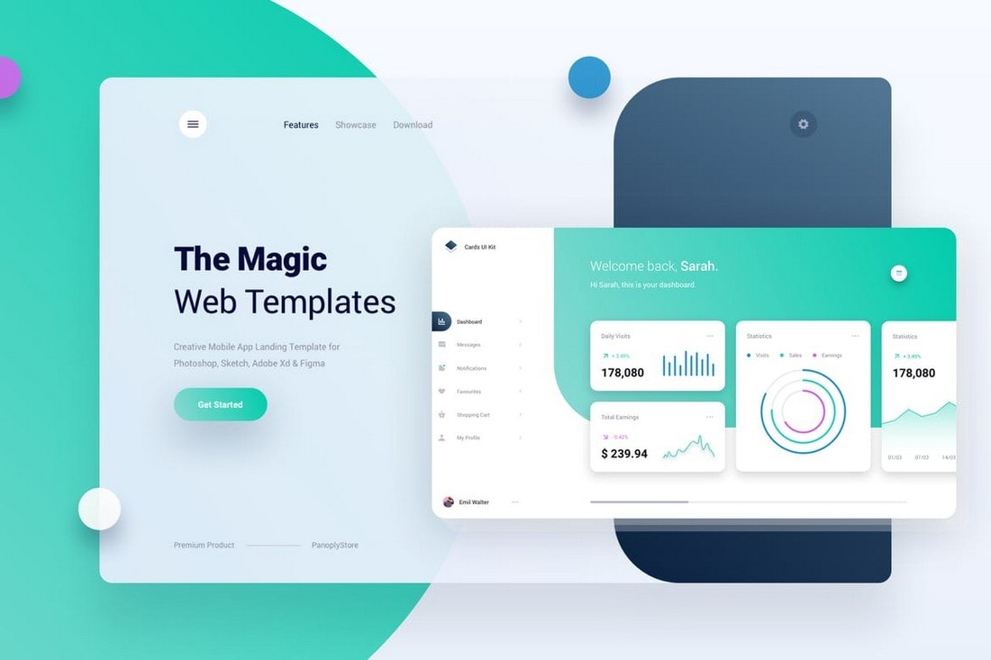Mobile App Landing Page + Dashboard Template