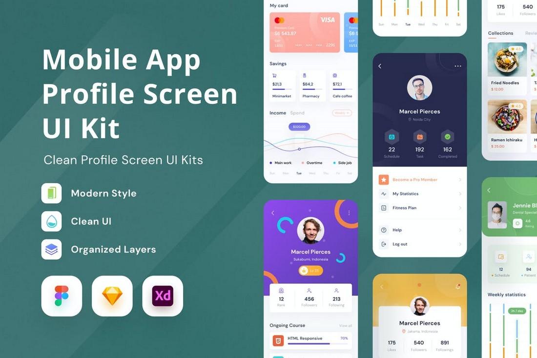 Mobile App Profile Screen UI Kit
