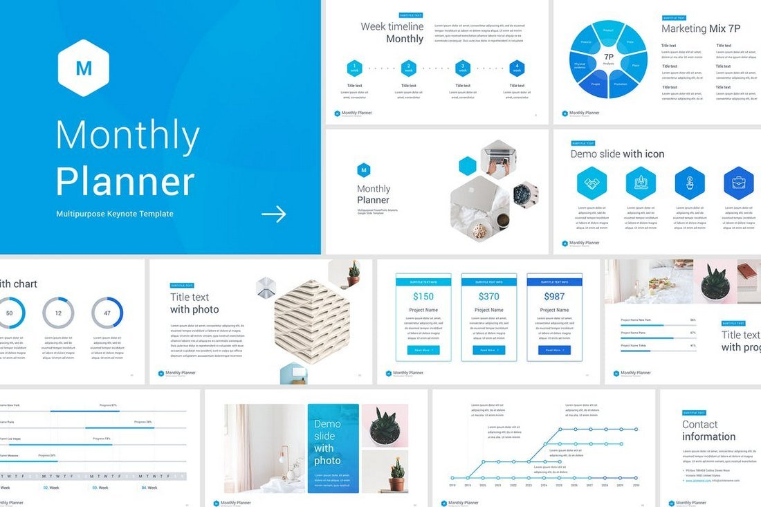 Monthly Planner - Animated Keynote Template