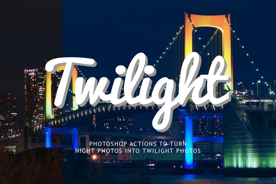 Night to Twilight Photoshop Actions